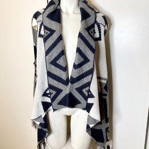 I❤️H81 Grey Aztec Cardigan Sweater Vest M